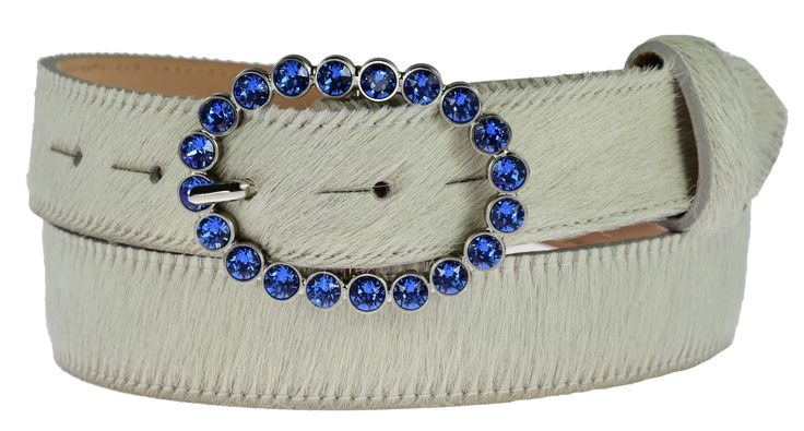 Sapphire Swarovski detachable oval buckle £50 on winter white cowhide belt £70