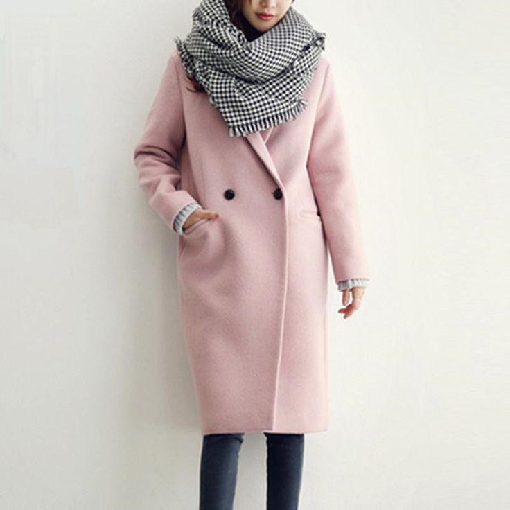 2016 женские зимние шерстяные пальто розовый и темно синий Корейский стиль куртки casaco feminino офис дамы с длинным рукавом пальто купить на AliExpress