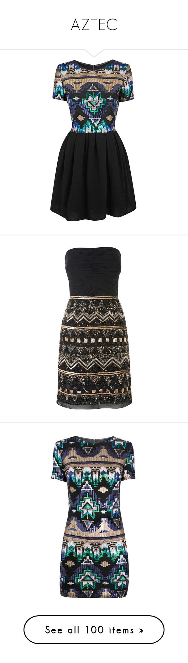 """AZTEC"" by shoppings9 ❤ liked on Polyvore featuring dresses, vestidos, aztec pattern dress, aztec skater dress, sequin embellished dress, aztec dresses, aztec-print dresses, robe, short dresses and black gold"