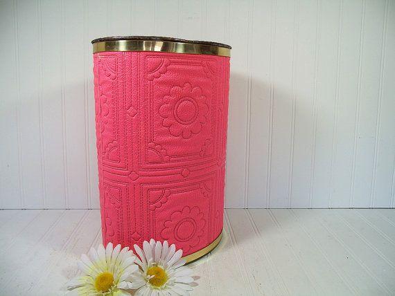 Vintage Groovy Hot Pink Fuschia Textured Vinyl Upholstery