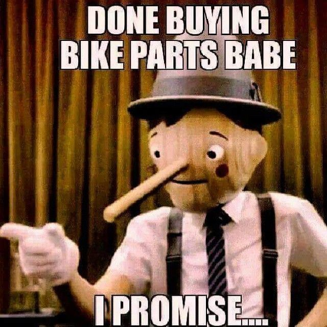 "You're gonna buy some bike stuff this weekend, aren't you?  ""Done buying bike parts babe - I promise..."" #cycling #bikepoor #liarliar #pinocchio #motivationalspeaker #untappedpotential"
