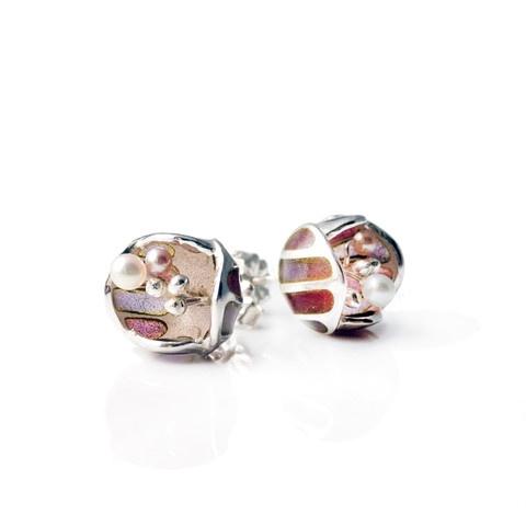 """""""Mystic Purple enamel Blossom"""" stud earrings. Sterling silver. plique a jour enamelling. fresh water pearls."""