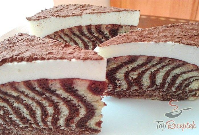 """A """"zebrás"""" vagy csíkos süteménynek számos verziója létezik, készítettem már kekszből (kakaós és vaníliás háztartási keksz), kakaós tésztából túrós töltelékkel, de nekem leginkább ez a mascarpone krémes ZEBRA sütemény ízlik. Lényegében puha és omlós tésztát készítünk, amit két részre osztunk, az egyiket kakaóval megbolondítjuk, és ezt a két tésztát öntjük egymásra. A sütemény pikantériája a kakaós és világos rétegeken kívül a finom narancsos aroma, a lekvár és az ellenállhatatlan mascarpone…"""