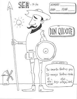 Color by conjugation SER Don Quixote NO PREP Spanish verb