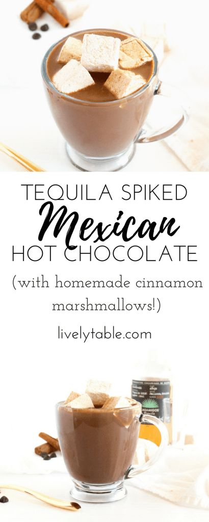Smooth, spicy Tequila Spiked Mexican Hot Chocolate with Homemade Cinnamon Marshmallows is rich, creamy treat that is sure to warm you up on a cold day! (gluten-free) via livelytable.com