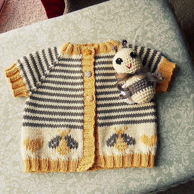 Baby Bee Cardigan, link to original sweater pattern, link to duplicate stitch bee chart, link to amigurumi crochet bee