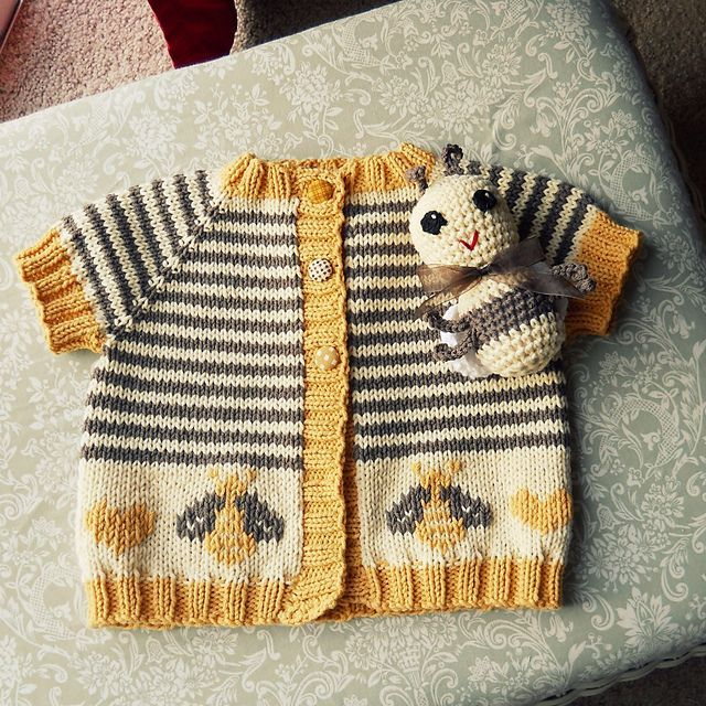 Knit Baby Bee Cardigan, link to original sweater pattern, link to duplicate stitch bee chart, link to amigurumi crochet bee