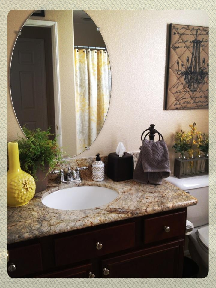 Yellow gray bathroom makeover gray brown green pinterest for Yellow and green bathroom ideas
