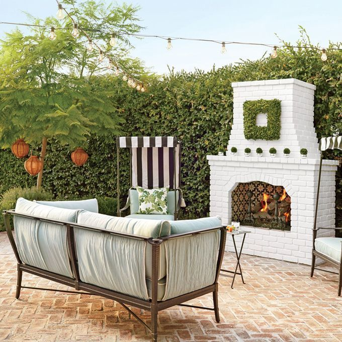 24 White Brick Outdoor Fireplace | Outdoor fireplace ... on Brick Outdoor Fireplace Ideas id=53308