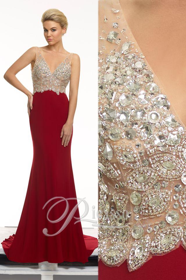 P1645 #Picasso #lace #diamente #dress #red #embroidery #glitter #sparkle