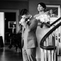 Groom crying during the first look. University and Whist Club Wedding Photos.