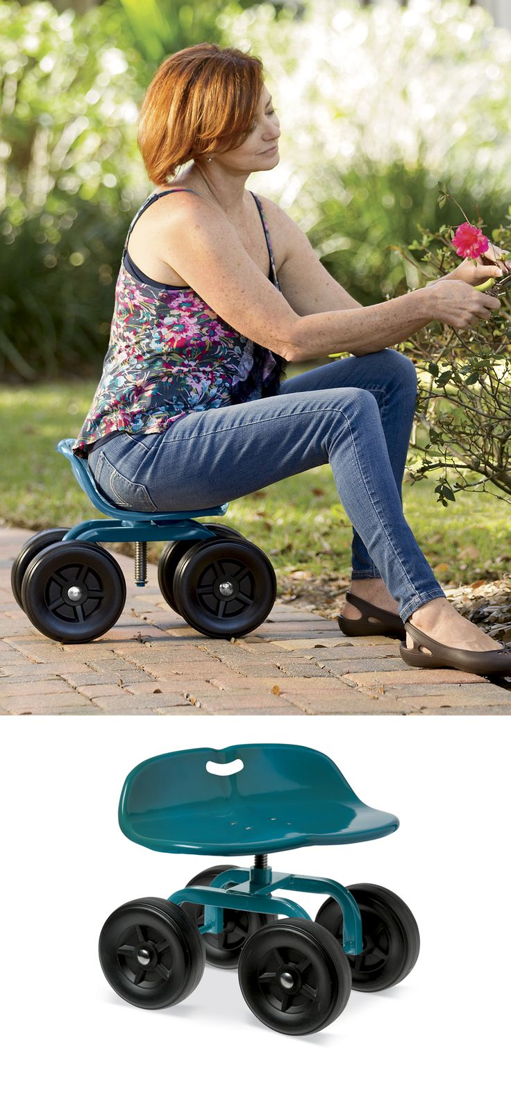 "New - Low Rider Swivel Scoot puts plants within easy reach. Rolling scoot with swiveling contoured seat lets you tend plants from a low, seated position, extending your reach and preventing strain in your shoulders, lower back and knees. Swivel the seat to adjust it from 9"" to 13-1/2"" high. Durable powder-coated steel."