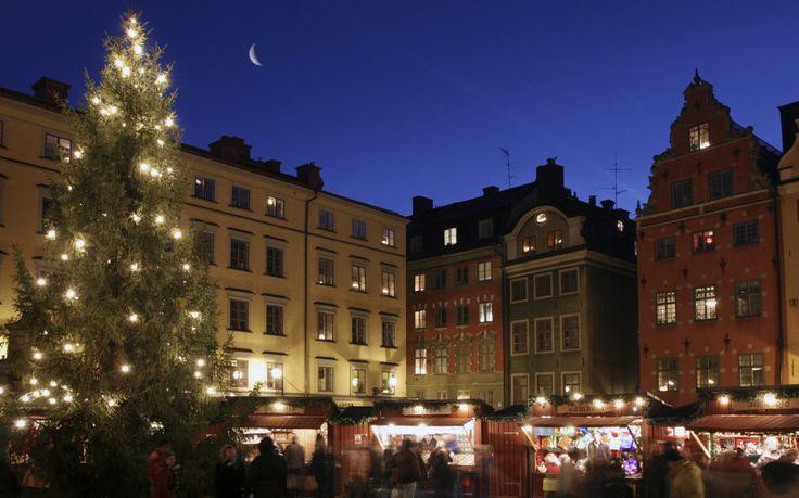 Рождественская ярмарка в старом городе. Стокгольм, Швеция