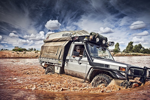 Toyota Land Cruiser Pick-up. Finke River crossing, Northern Territory.