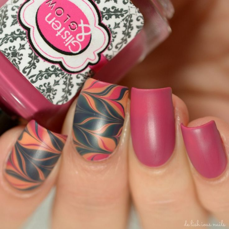 Watermarble nail art design with a matte top coat.