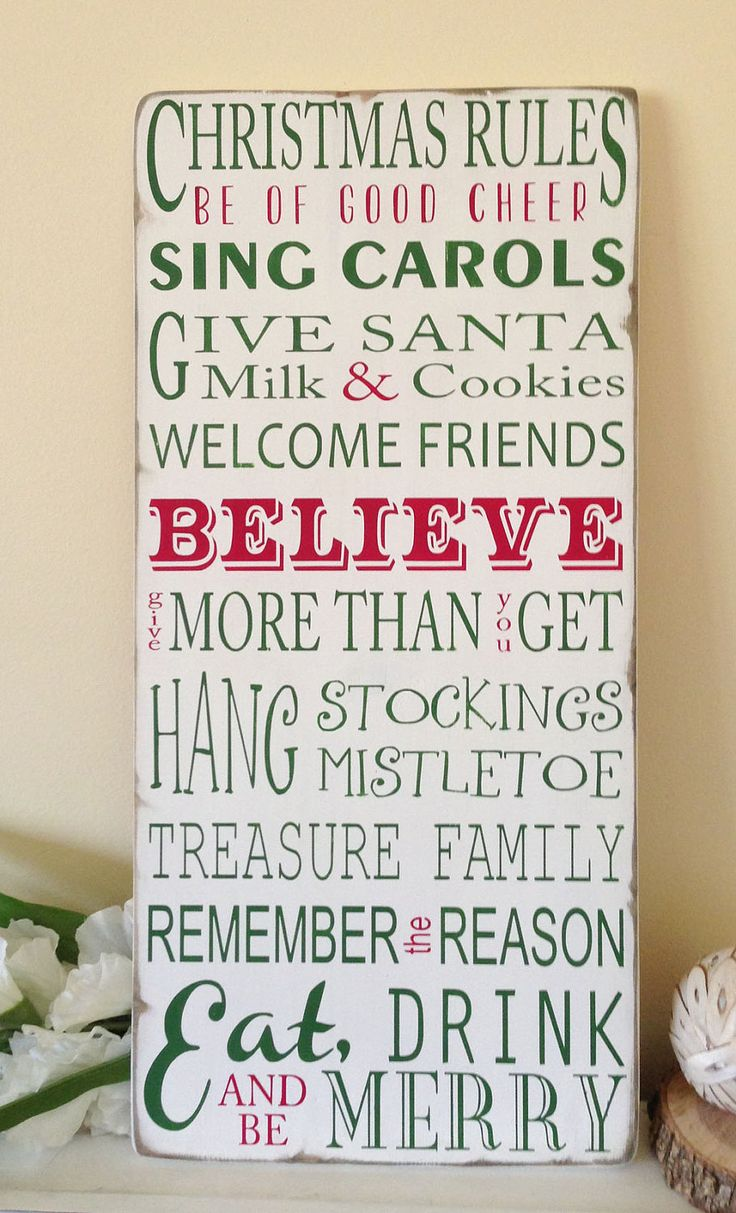 Christmas Rules Typography Word Art Sign- Weather Worn White Vintage Style. $95.00,