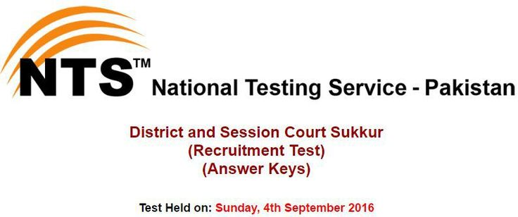 District and Session Court Sukkur NTS Answer Keys Result