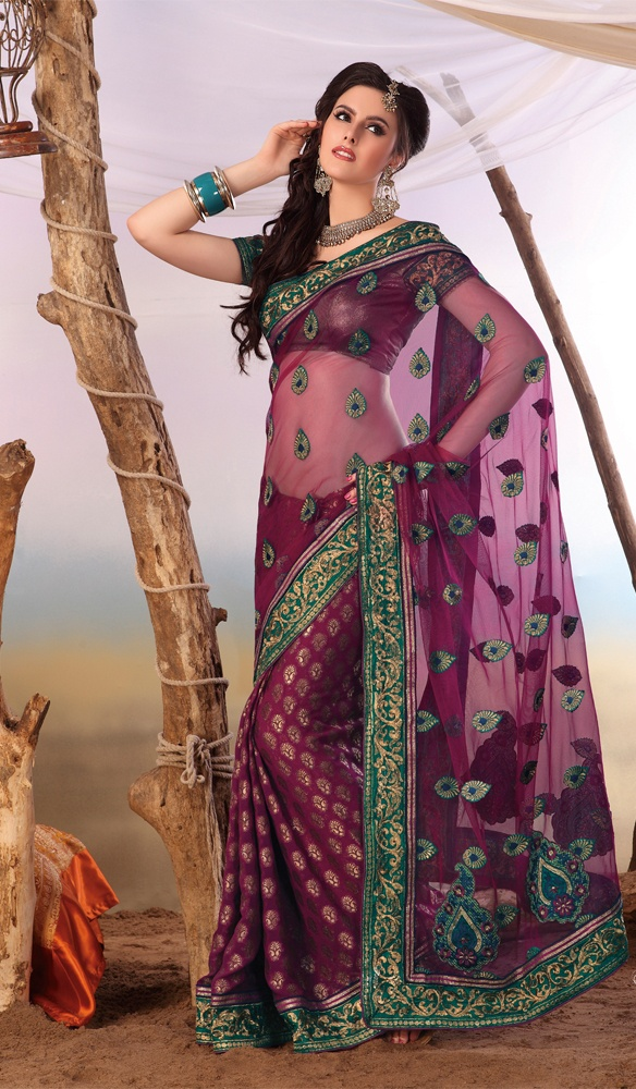 Deep Magenta Net Viscose Georgette Stylish Party Wear Saree