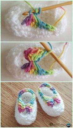 Rapidi Crochet Baby Booties con l'arco Free pattern - Crochet Scarpette da neonato Pantofole Free pattern
