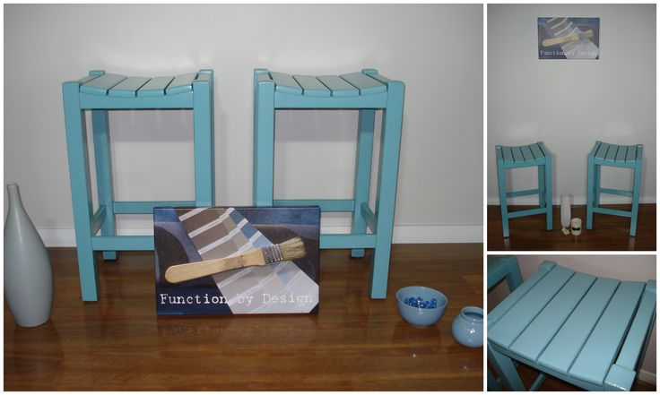 I'd be keeping these ones if we didn't already have bar stools at home. This pair have been painted in a lovely vibrant aqua chalk paint and have been lightly distressed on the edges to give them a coastal vibe. They have also been sealed all over for everyday use. These bar stools would compliment any white kitchen perfectly as an accent piece, to help give it a shot of colour.