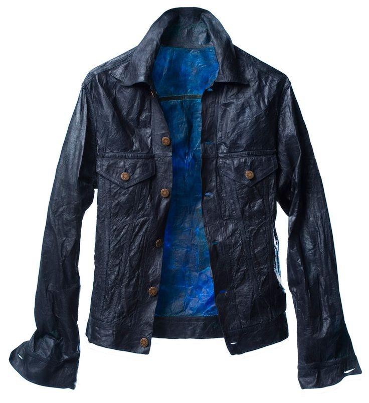 'bio-denim jacket' by Suzanne Lee. Textile made from bacterial cellulose grown in a solution of sweetened tea