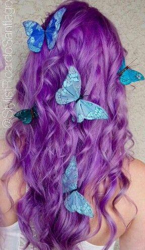 Purple dyed hair color blue butterflies @stylistricardosantiago