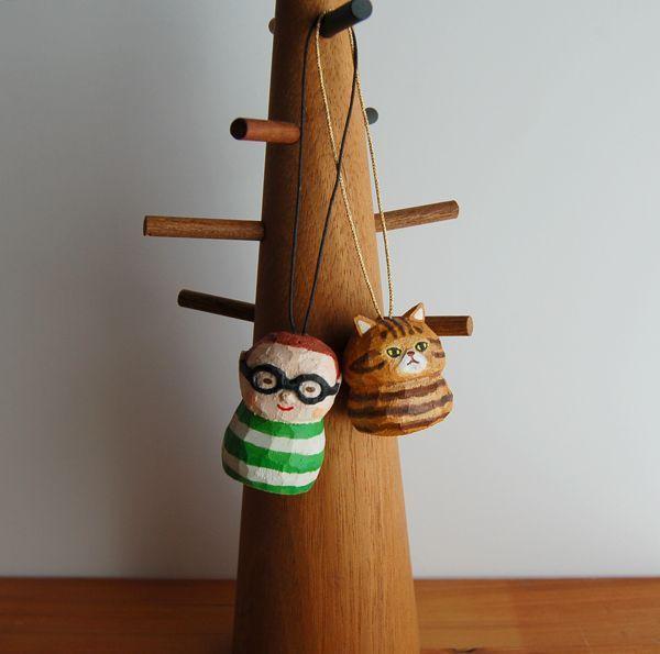 画像4: 木彫りねこストラップ エキゾチック 明るい茶色