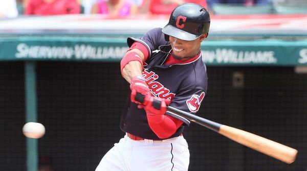 Cleveland Indians Francisco Lindor connects for a double in the 7th inning against Texas Rangers, at Progressive Field, on June 29, 2017. Indians won 5-1