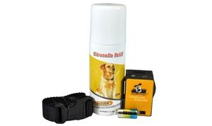 Training collar detects the sound and vibration of barking, then uses short bursts of citronella spray to help discourage noisy dogs