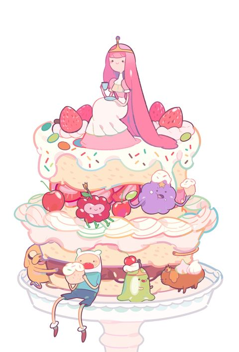 Adventure time characters eating deserts.So CUTE!