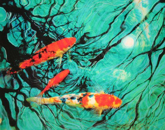 Moonlight swim 11x14 Koi art pond art moon by dahliahousestudios, $59.99