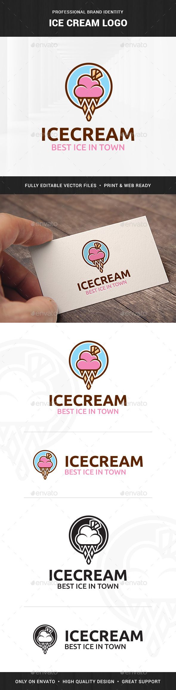 Ice Cream Logo Template — Vector EPS #vector #sweet • Available here → https://graphicriver.net/item/ice-cream-logo-template/16844876?ref=pxcr