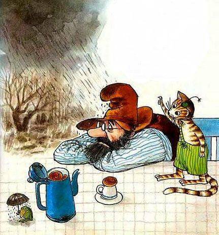 сказки онлайн бесплатно,Свен Нурдквист, Петсон и Финдус, Петсон грустит, иллюстрации скачать
