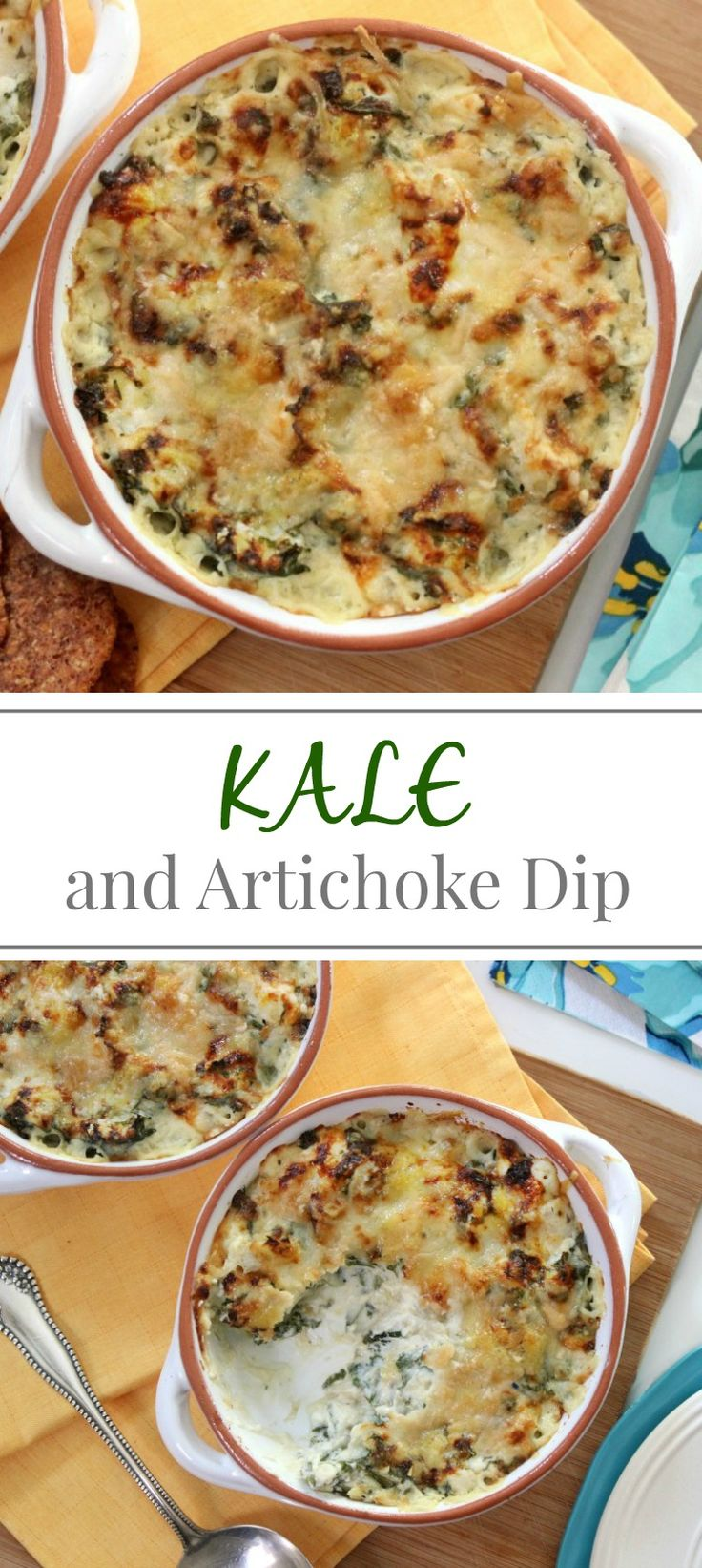 Kale and Artichoke Dip | Simply Fresh Dinners...delicious update to the traditional artichoke dip