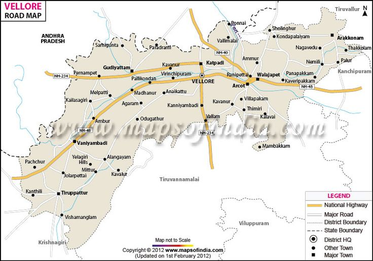 Road Map of Vellore in Tamil Nadu. Home of Christian medical College and Hospital- great dept of Anaesthesia