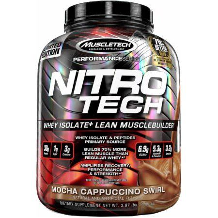 MuscleTech Performance Series Nitro Tech Whey Protein Supplement Powder, Mocha Cappuccino Swirl 4lb, Black