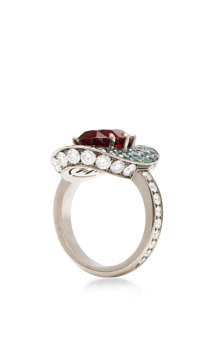 alexandrite alexandrite wedding band This ring by Katherine Jetter features a natural Burmese red spinel stone surrounded by color change