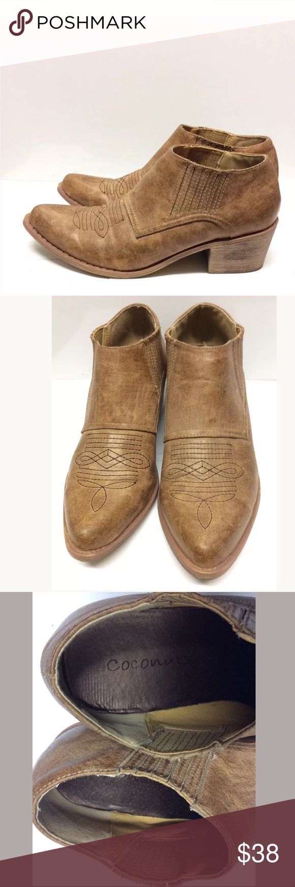 """♥️Coconuts Cowboy Ankle Boots Size 7.5 M Brown Coconuts Cowboy Ankle Boots  Size: 7.5 M Heel Height: 2"""" Color: Brown  The boots has cosmetic flaws with two small pinkish light spots. Overall, the shoes are gently used and in good condition. Thank you for viewing this listing! Coconuts Shoes Ankle Boots & Booties"""