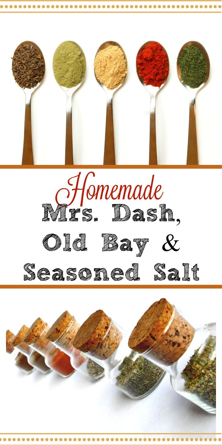 Why are you wasting money on stale store-bought spice mixes? Make your own Mrs. Dash, Old Bay and Seasoned Salt for pennies with fresher spices and no nasty fillers. via @HousewifeHowTos