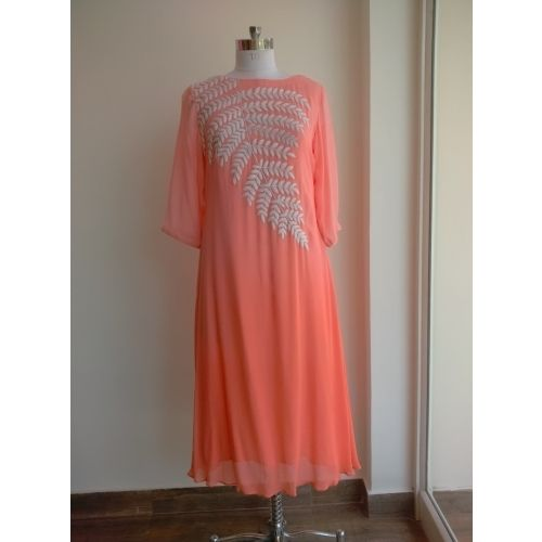 Designer Peach Colour Georgette Embroidered Unstitched  Kurti