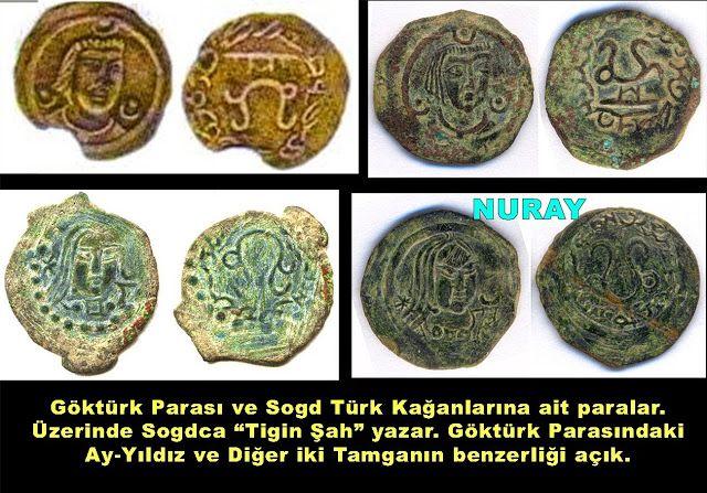 """Arkadaşlar biliyorsunuzdur, Birileri """"İşte bu sizin paranız, Göktürk Parası"""" deyip, sanki sadece bize ait olan para buymuş gibi dayattı bunu.. Aslında Türklere ait o kadar çok para varki, ben bunların bir çoğunu paylaştım buradan. Bunlarda, Göktürk parası ile aynı özelliklere sahip, üzerinde Türk Kağanlarının adı olan ve Türk ikonografik işaretleri bulunan paralar..Ve bunların hepsi bizim, sahiplenelim....Paralar 7ve 8. yüzyıllardan. Tigin Şah, Yabgu Tonga Kağan gibi Türk Kağanlarına ait.."""