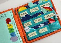 Handmade cloth quiet busy book for Sergio, felt weather station, развивающая книжка