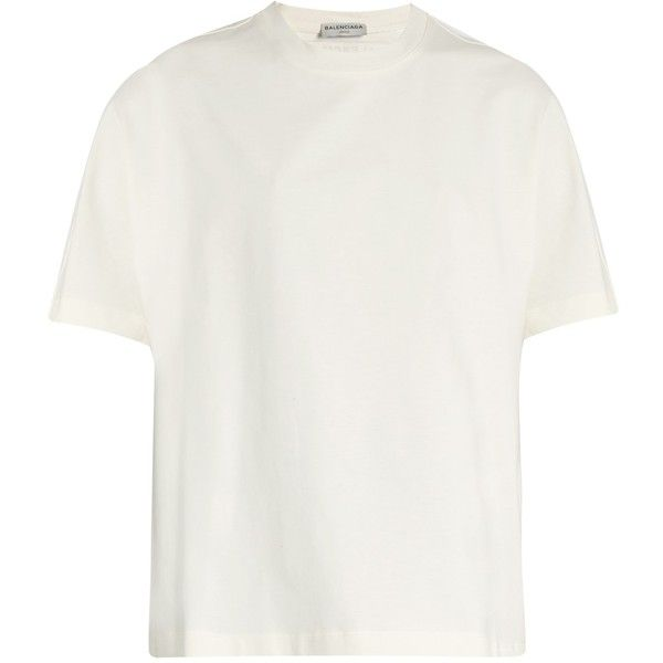 Balenciaga Oversized short-sleeved T-shirt ($325) ❤ liked on Polyvore featuring tops, t-shirts, white, balenciaga t shirt, jersey tee, jersey t shirt, white t shirt and oversized jersey tee