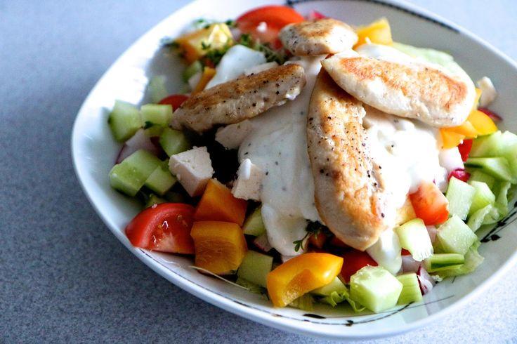 Chicken salad with tzatziki dressing.