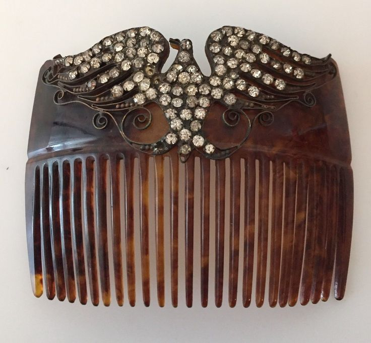 Antique Victorian Edwardian Jeweled Eagle Hair Comb