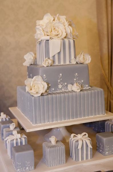Blue Square Wedding Cake & Mini Cakes $1100 plus $40 per mini cake