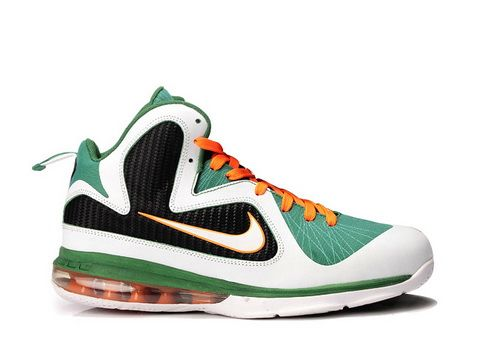 Nike LeBron 9 Miami Hurricanes Style code:469764-102 The Nike LeBron 9  Miami Hurricanes features a colorful upper colorway. A green flywire  infused upper ...