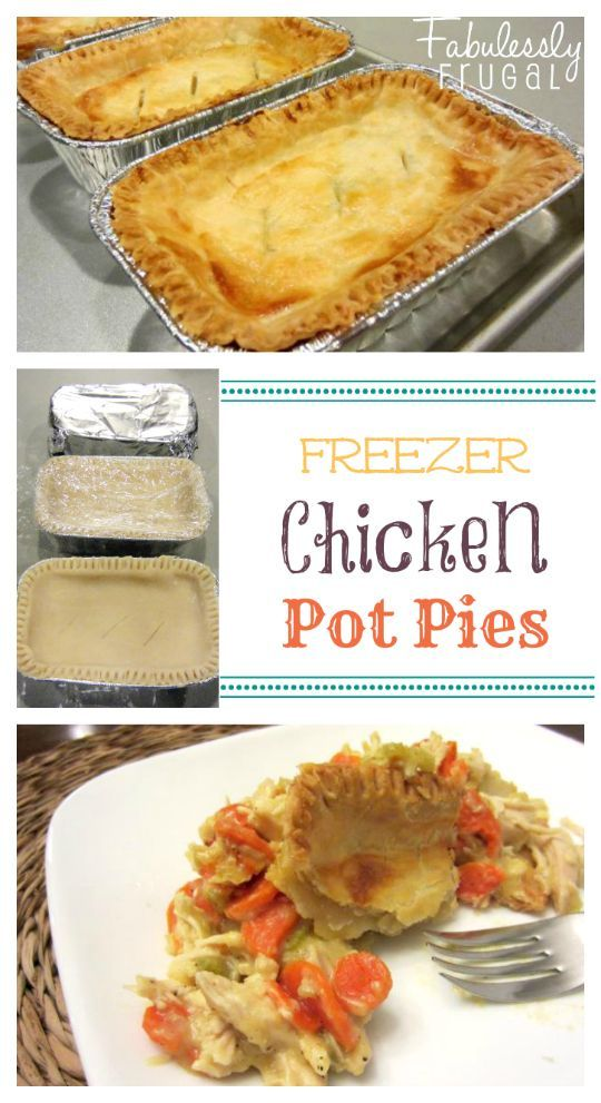 "Homemade Frozen Chicken Pot Pies I like Chicken Pot Pie Crumble so much that I wanted to be able to use it as a freezer meal. Changing up the ""crust"" made it possible! I took some of these to a friend after she had a baby and it got a big thumbs up. Use rotisserie… Read More"