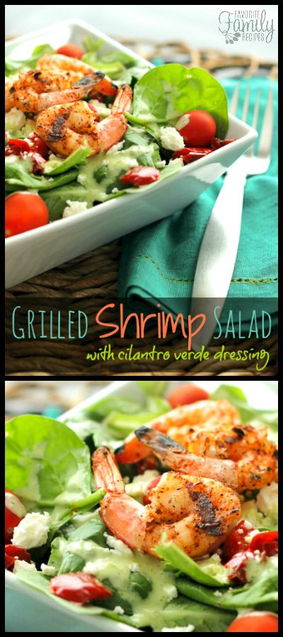 This Grilled Shrimp Salad with Cilantro Verde Dressing! It has everything that I love in a good salad, lots of delicious flavors and still low in calories. via @favfamilyrecipz