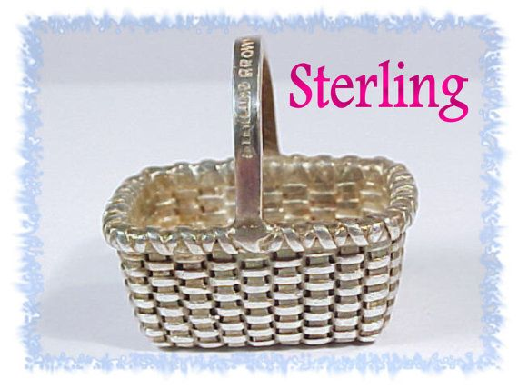 BROWN County Baskets ~ Sterling Silver Market Basket Pendant ~ Looks like Longaberger